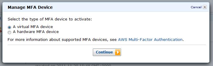 Select virtual MFA device